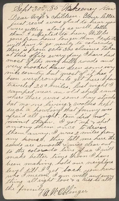 Letter from Uriah W. Oblinger to Laura I. Oblinger, Ella Oblinger, Stella Oblinger, Nettie Oblinger, Maggie Oblinger, and Sadie Oblinger, September 30, 1885