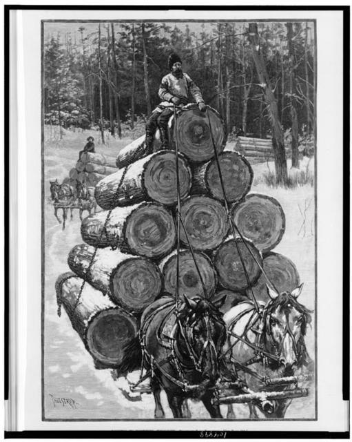 Logging in northern Wisconsin / drawn by T. de Thulstrup, Zimerman & Negri, se.