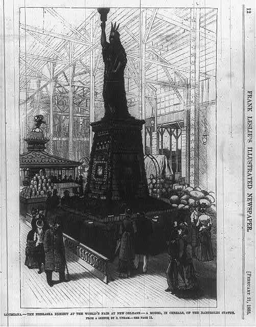 Louisiana - the Nebraska exhibit at the World's Fair at New Orleans - a model, in cereals, of the Bartholdi statue