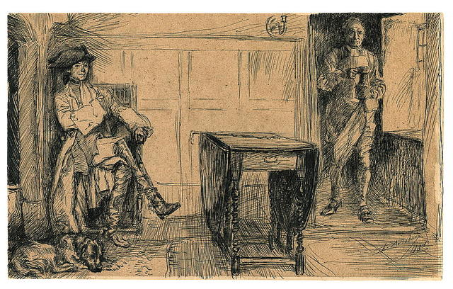 [Man in eighteenth-century dress with tri-corner hat sitting in corner, while another man enters the room carrying a pitcher] / E.A. Abbey.