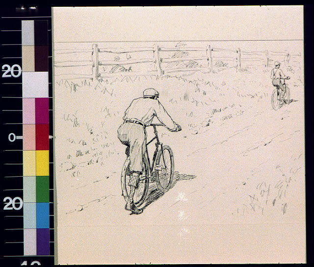 [Man in foreground mounting bicycle to follow bicycling man in distance]