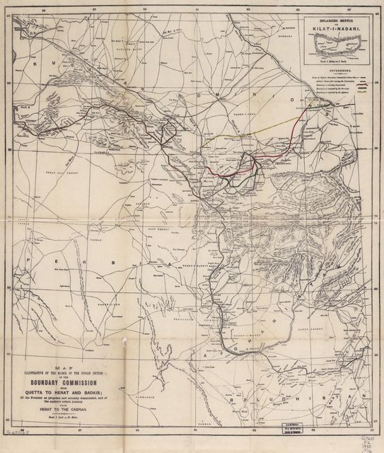 Map illustrative of the march of the Indian section of the Boundary Commission from Quetta to Olerat and Badkis; of the frontier as proposed and actually demarcated, and of the author's return journey from Herat to the Caspian.