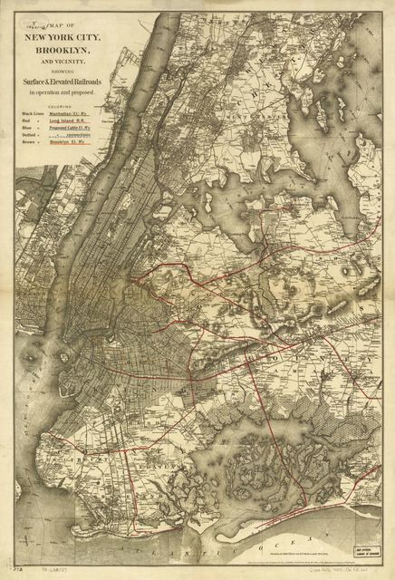 Map of New York City, Brooklyn, and vicinity showing surface & elevated railroads in operation and proposed.