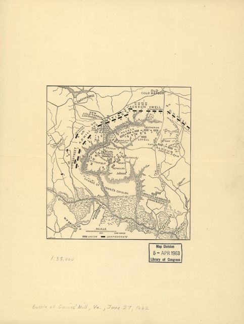 [Map of the battle field of Gaines's Mill, showing approximately the positions of infantry and artillery engaged /