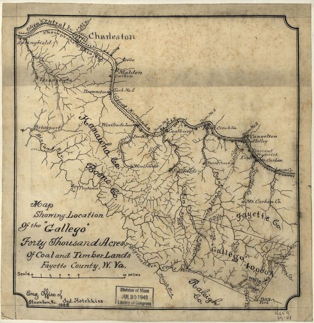 """Map showing location of the """"Gallego"""" forty thousand acres of coal and timber lands, Fayette County, W. Va. /"""