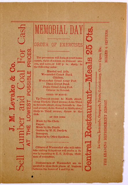 May [blank], Memorial day extra 1885. [order of excercises, etc.]