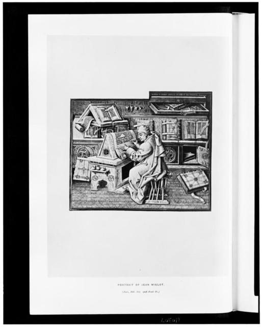 [Medieval scribe Jean Miélot, sitting at a desk, making a copy of another book]