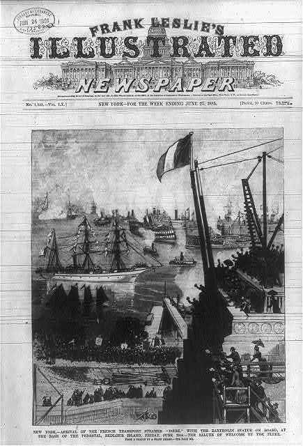 New York - arrival of the French transport steamer Isere with the Bartholdi statue on board, at the base of the pedestal, Bedloe's Island, Friday, June 19th - the salute of welcome by the fleet