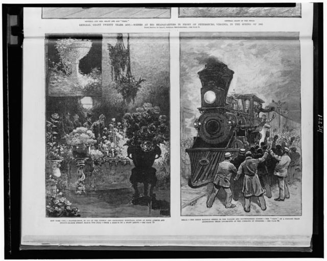 "New York City--Flower-show, in aid of the German and Orthopedic Hospitals, given at Fifth Avenue and Twenty-Eighth Street, March 9th-14th / Mazzanovich. Texas--The great railway strike on the Wabash and Southwestern system - The ""crew"" of a freight train abandoning their locomotive at the command of strikers."