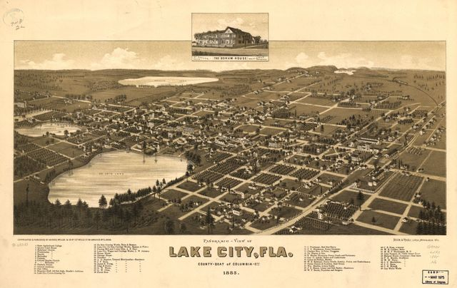 Panoramic-view of Lake City, Fla. county seat of Columbia Cty. 1885.
