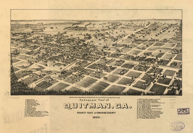 Panoramic view of Quitman, Ga. county-seat of Brooks-County 1885.