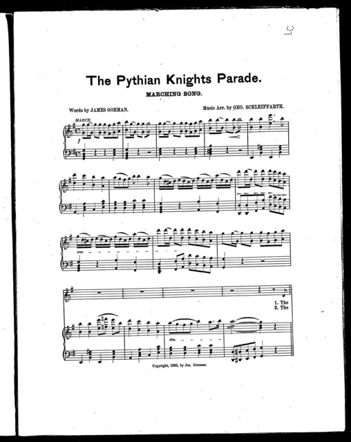 Pythian knights parade, The; Marching song