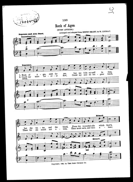 Rock of ages; Hymn anthem