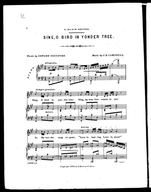 Sing, O bird in yonder tree