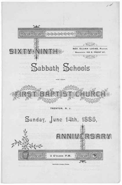 Sixty-ninth Sabbath schools of the First Baptist church. Trenton. N. J. Sunday, June 14th 1885, anniversary. 3 o'clock P. M,.