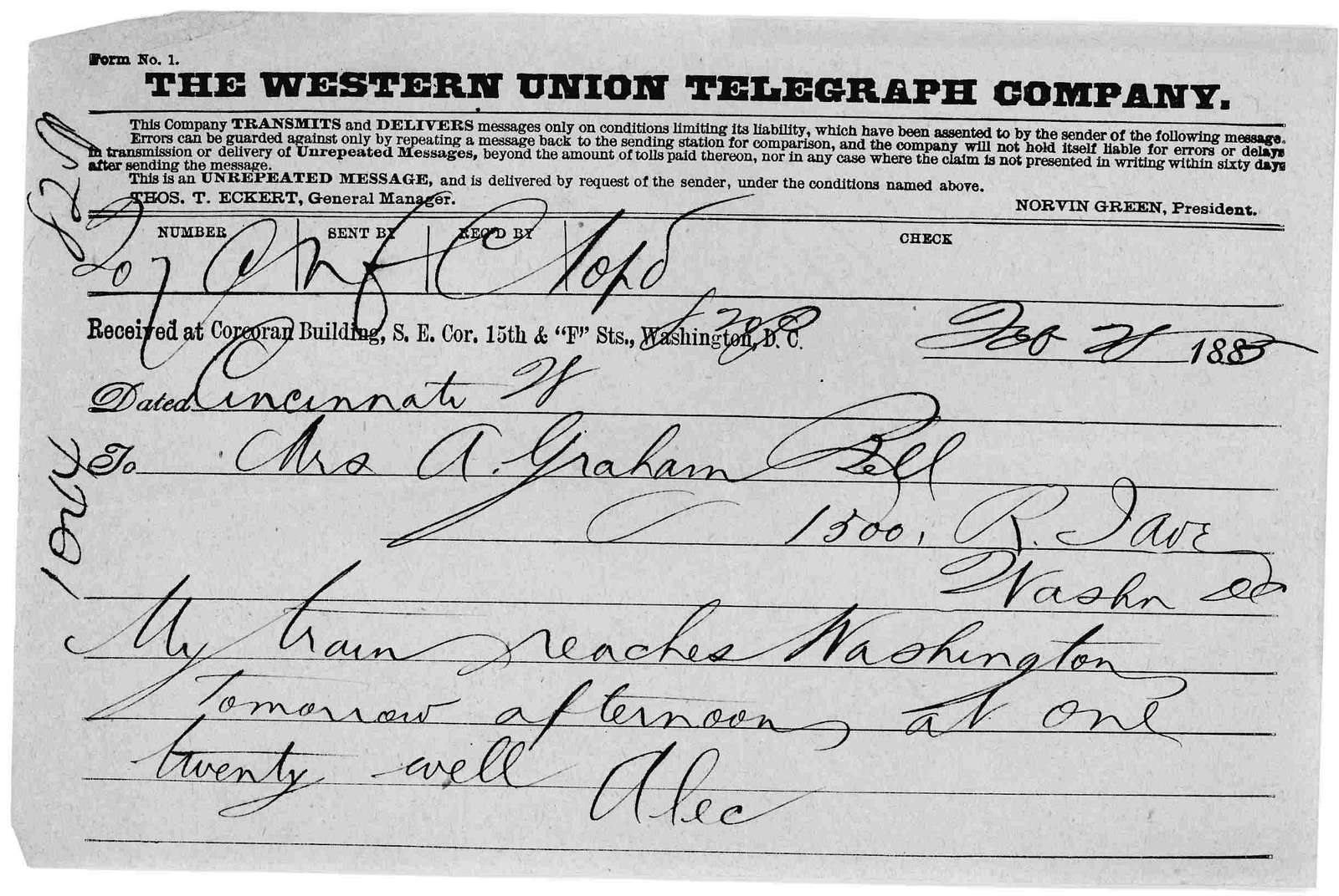 Telegram from Alexander Graham Bell to Mabel Hubbard Bell, February 20, 1885