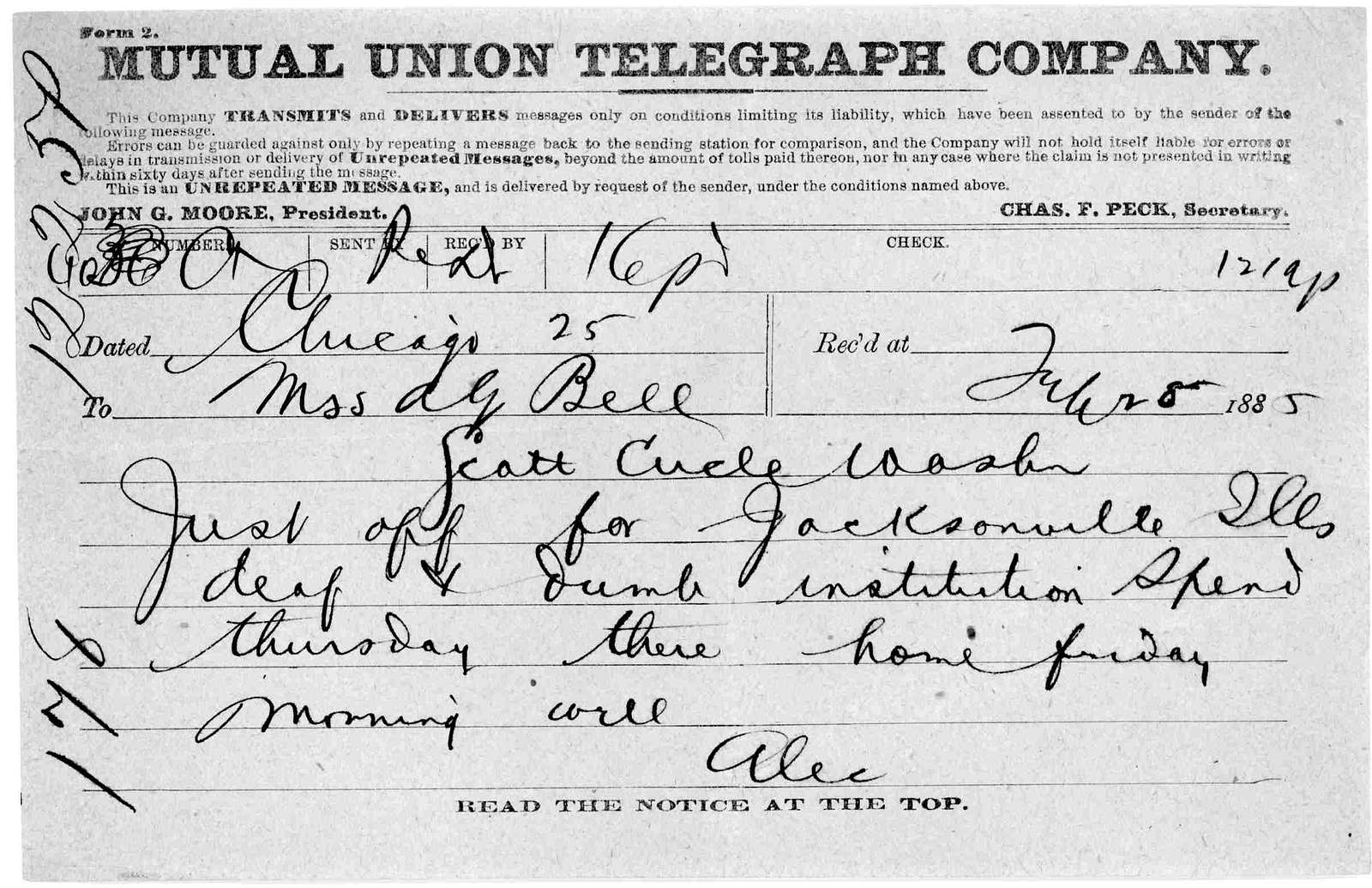Telegram from Alexander Graham Bell to Mabel Hubbard Bell, February 28, 1885