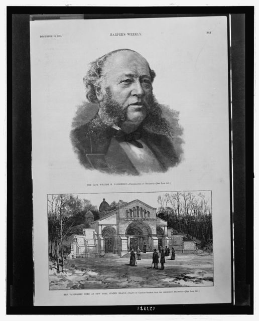 The late William H. Vanderbilt / T.A. Butler sc. ; photographed by Bogardus.  The Vanderbilt tomb at New Dorp, Staten Island / drawn by Charles Graham from the architect's drawings.