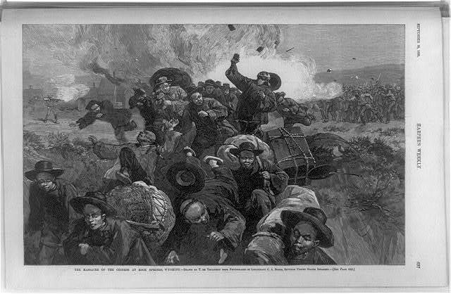 The massacre of the Chinese at Rock Springs, Wyoming / drawn by T. de Thulstrup from photographs by Lieutenant C.A. Booth, Seventh United States Infantry.