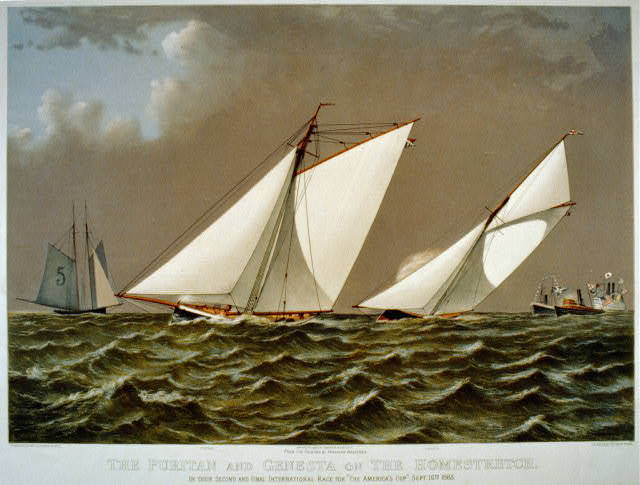 """The Puritan and Genesta on the homestretch: in their second and final international race for """"The America's Cup"""" Sept. 16th 1885"""