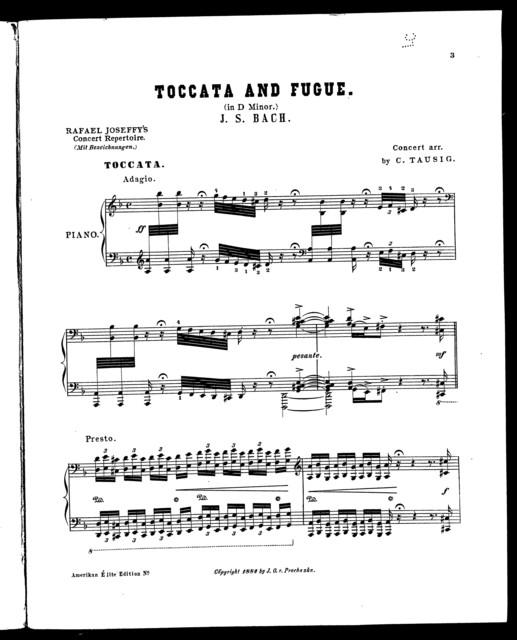 Toccata and fugue; in D minor