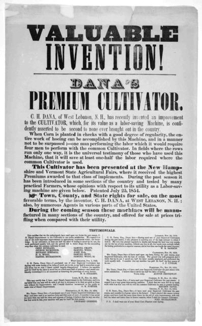 Valuable invention!. Dana's premium cultivator ... [West Lebanon, N. H. 1855].