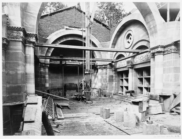 [Vanderbilt mausoleum, Moravian Cemetery, New Dorp, Staten Island, New York. View of interior during construction] / Long & Heppner, Photos.