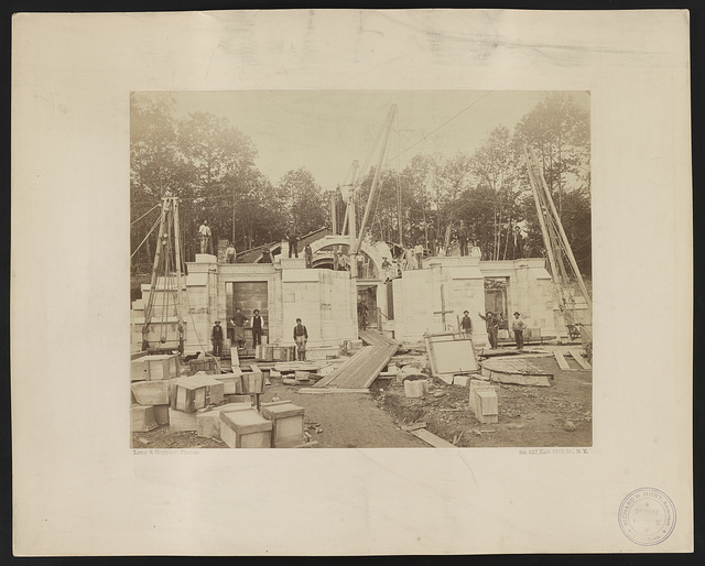 [Vanderbilt mausoleum, Moravian Cemetery, Staten Island, New York, under construction with workers]