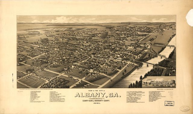 View of the city of Albany, Ga. (the Artesian City) county-seat of Dougherty-County. 1885.