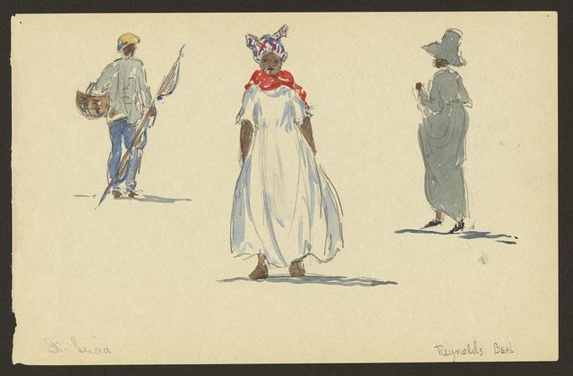 [Watercolor of three figures, natives of St. Lucia]