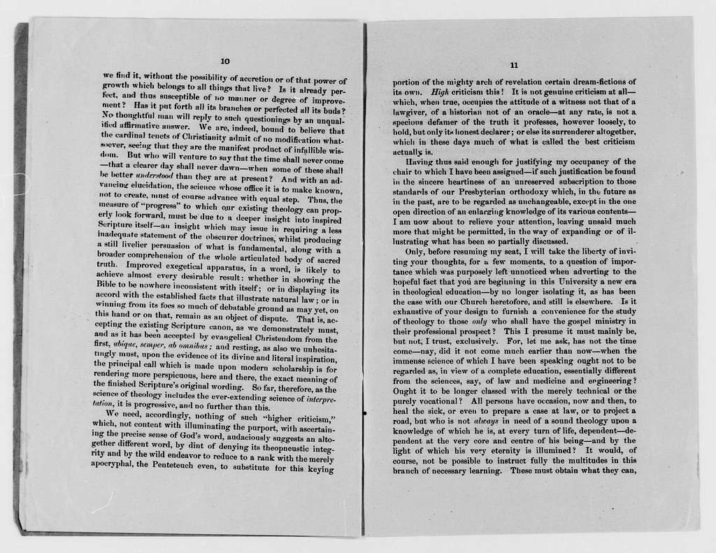 Woodrow Wilson Papers: Series 11: Woodrow, Axson, and Wilson Family Material, 1835-1894; Joseph R. Wilson's Inaugural Address at Southwestern Presbyterian University, Clarksville, Tenn., 1885