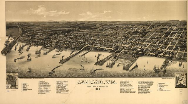 A bird's eye view of the city of Ashland, Wis., county seat of Ashland County 1886.