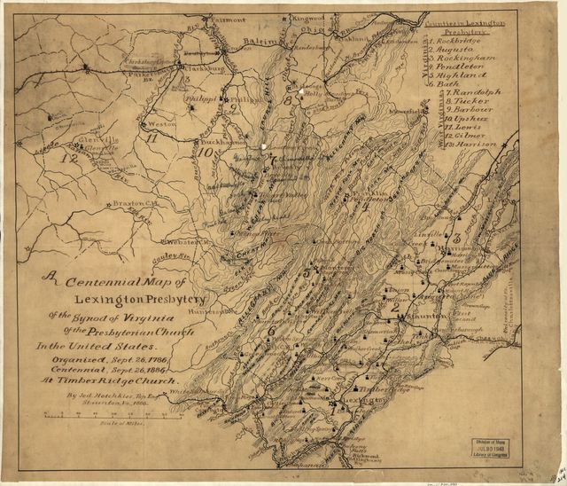 A centennial map of the Lexington Presbytery of the Synod of Virginia of the Presbyterian Church in the United States, organized Sept. 26, 1786, centennial Sept. 26, 1886, at Timber Ridge Church /