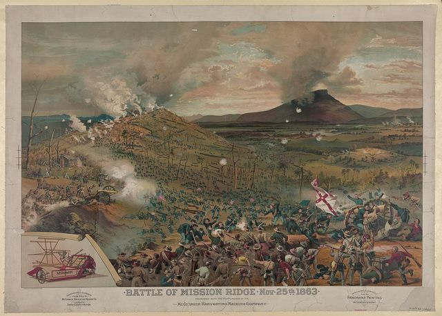 Battle of Mission [i.e., Missionary] Ridge, Nov. 25th, 1863 - presented with the compliments of the McCormick Harvesting Machine Company / Cosack & Co. lith., Buffalo & Chicago.
