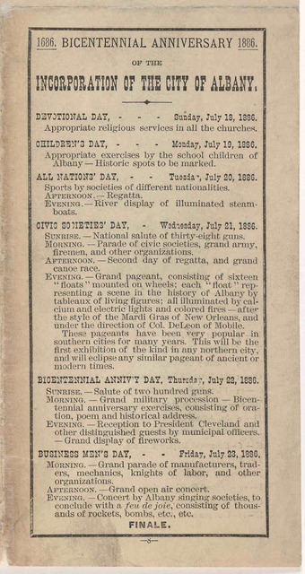 Bicentennial celebration. 1686 1886. View and condensed history of The City of Albany. [Albany. 1886].