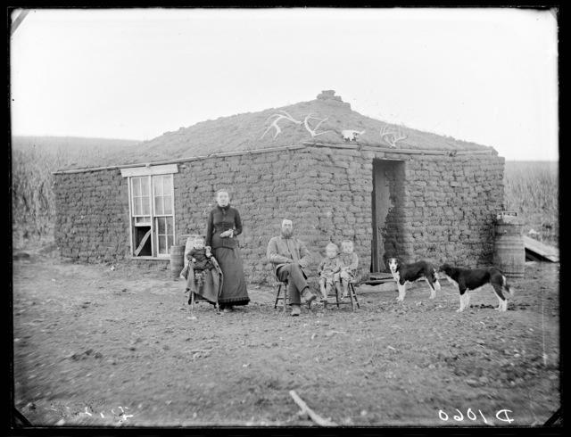 Breeding family's sod house, West Union, Nebraska
