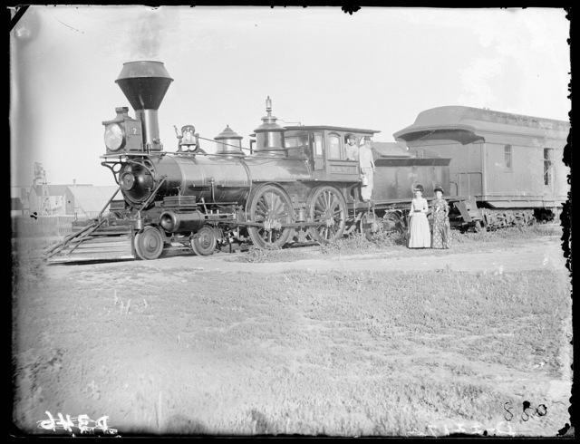 Burlington engine number 7, said to be the first passenger train into Broken Bow, Nebraska,