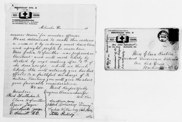 Clara Barton Papers: Red Cross File, 1863-1957; American National Red Cross, 1878-1957; German Section of the Order of the Red Cross, Milwaukee, Wis., 1886-1890