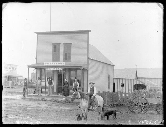 E.E. Whaley Hardware & Groceries, Boots & Shoes, Post Office, West Union, Nebraska.