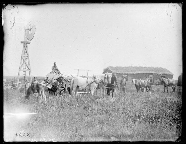 Family with a horses in front of sod house.