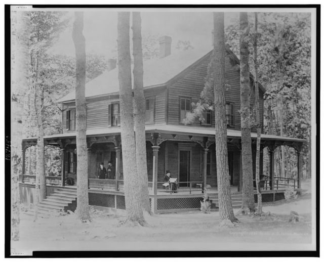 Fine view of General Grant's mountain home, where he passed his last days in the bracing air of Mt. McGregor, at the Drexel Cottage--The General seen in repose on the side porch; Dr. Douglas and Col. Fred Grant in consultation on the front porch