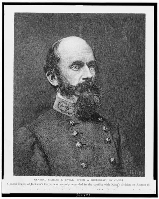 General Richard S. Ewell--General Ewell, of Jackson's Corps, was severely wounded in the conflict with King's division on August 28 / H.V. sc ; from a photograph by Cook.