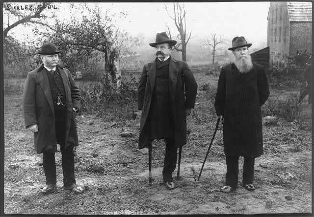 Gens. Sickles, Carr & Graham. Taken near Trostle's barn, Gettysburg Battlefield - on spot where General Sickles lost his leg, July 2nd, 1863