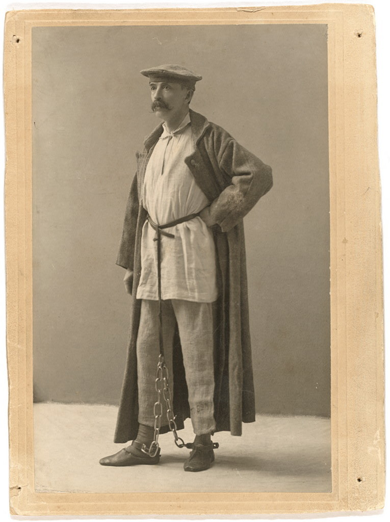 G.K. [i.e., George Kennan] in Siberian exile dress, each piece given by an exile from the dress he had worn
