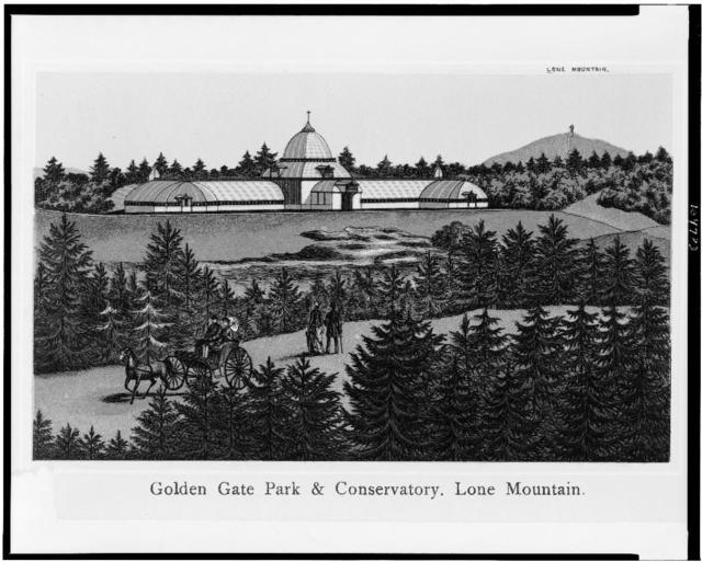 Golden Gate Park & conservatory. Lone Mountain
