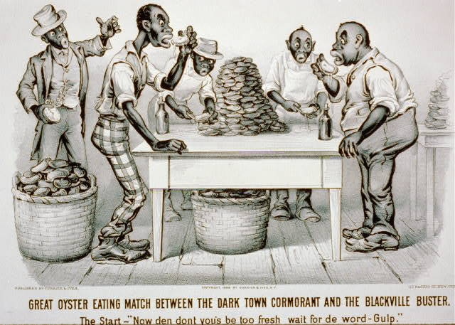 """Great oyster eating match between the Dark Town Cormorant and the Blackville Buster The start - """"Now den dont you's be too fresh, wait for de word : Gulp."""""""