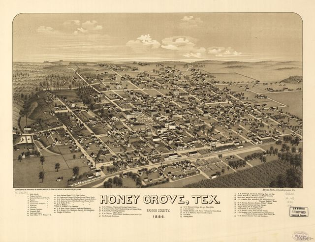 Honey Grove, Tex. Fannin County 1886.