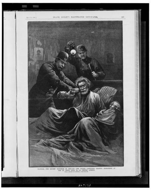 Illinois - the recent troubles in Chicago - the police capturing leading anarchists at one of their dens, No. 616 Centre Avenue / from a sketch by C. Bunnell.