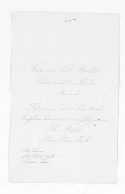 Invitation File, 1886-1889