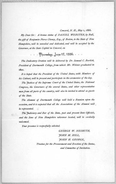[Invitation to the unveiling and dedication of a bronze statue of Daniel Webster at Concord. May 1, 1886].